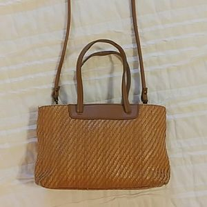 Fossil Straw and leather Crossbody